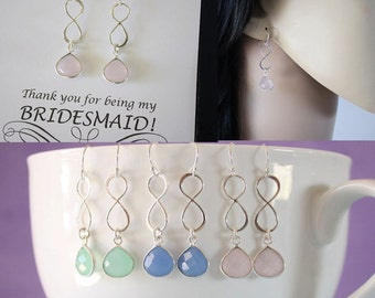 11 Infinity Bridesmaid Earrings, Bridesmaid Gift, Pink, Blue, Green Earrings, Infinity Jewelry, Sterling Silver Earrings, Thank you Cards