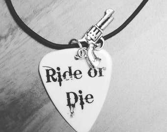 Ride or Die necklace or keychain guitar pick for girl guy with silver pistol gun charm motorcycle jewelry chick gangster best friend gift