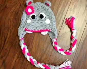 HIPPO Crochet Hat NEWBORN-ADULT