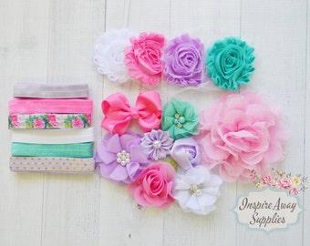 Sweet Baby Headband kit , MAKES 12 DIY headbands, baby shower headband kit, DIY baby headbands, headband station, headband kit,