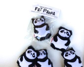 Catnip Panda Fur Cat Toy Black and White Bear