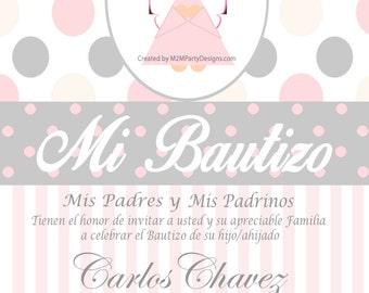 Baptism Invitation Custom Printable Print at Home Personalized Invitacion de Bautizo