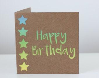 Happy birthday star kraft card