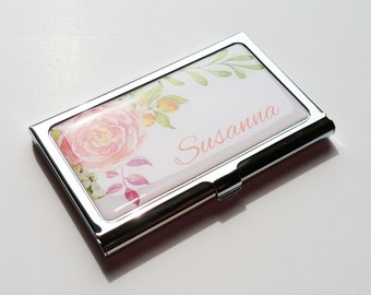 Personalized Business Card Holder, Custom Flower Business Card Case, Metal Credit Card Holder, Personalized Gift, gift for her, Employee E05