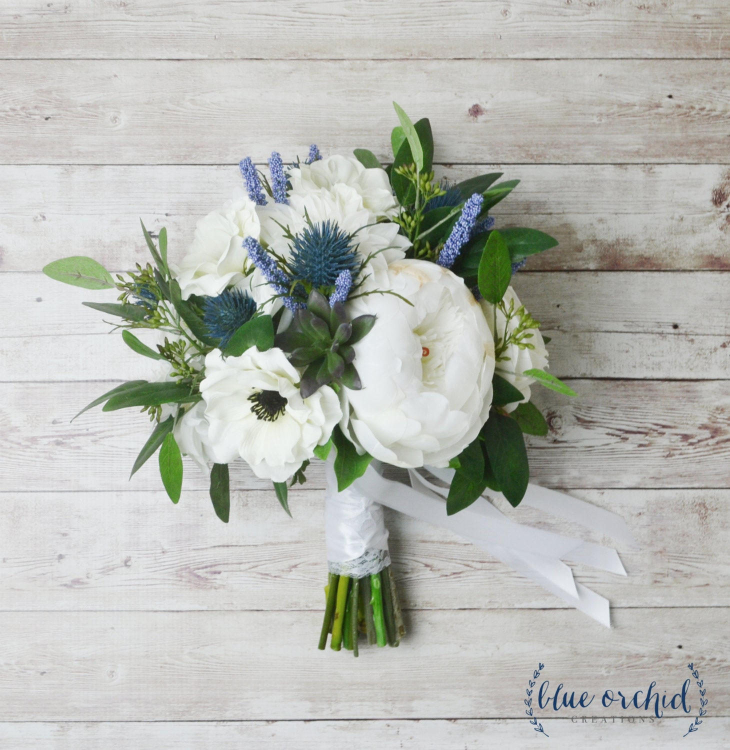 Blue And White Silk Wedding Bouquets : Silk boho bouquet peony peonies anemones