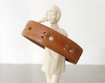 Leather Bracelet - Orange Bangle with Cutout Detail - Size Large