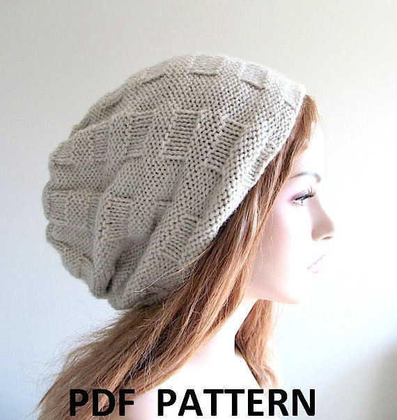 Hipster Hat Knitting Pattern : Digital PDF Knitting Pattern Instant Download Slouchy Beanie Hipster Hat from...