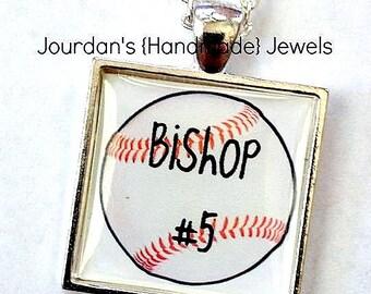 Baseball Keychain, Baseball Necklace, Baseball with Name and Number, Custom Baseball, Baseball Jewelry, Number Jewelry, Baseball Mom Jewelry