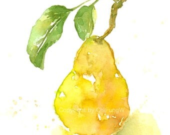 Fruit, fruit print, giclee art, watercolor painting, watercolor giclee, watercolor, Yellow Pear, Original watercolor print