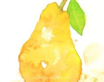 Fruit, fruit art print, giclee art, watercolor giclee, watercolor print, watercolor, Yellow pear, Original watercolor, giclee print 6x8