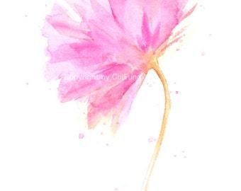 Flower, flower print, art, giclee, watercolor painting, watercolor art print, watercolor, Pink Carnation----Original watercolor print