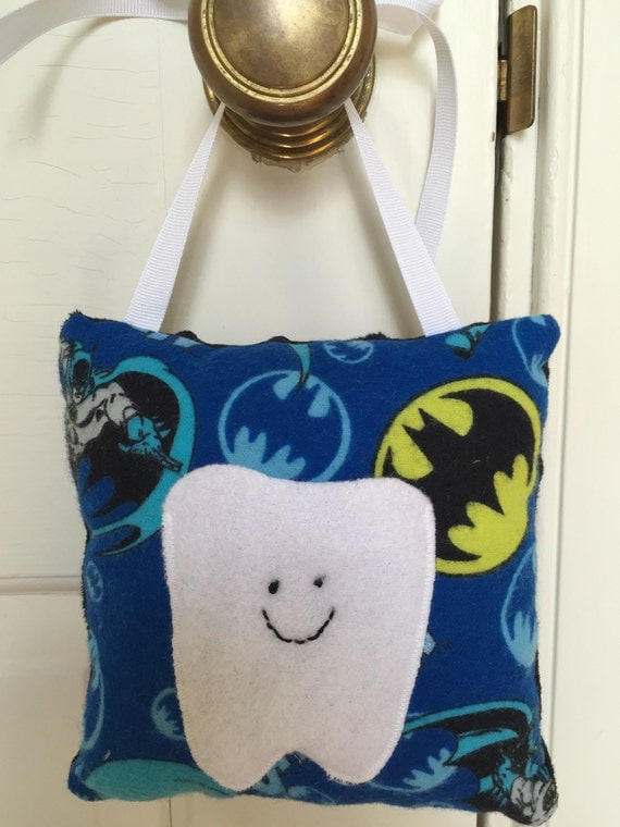 Tooth fairy pillow black and blue batman by claresclothesline for Batman fairy door