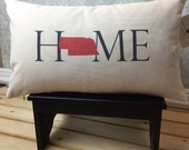 Nebraska Pillow, Long Pillow, Home Pillow, State Pillow, Home Decor, House Warming Gift, House Warming Pillow, Custom Pillow, Lumbar