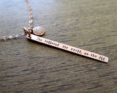 Rose Gold Necklace, Pave Diamond, Inspirational Quote, She Believed She Could So She Did Necklace, Graduation Gift, Motivational Necklace