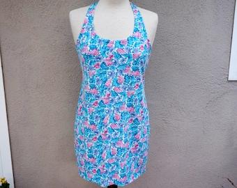 90s Blue Floral Dress, Floral Sun Dress, Short Blue Dress, Short Dress, Spring Dress Summer Dress, 90s Clothing, Sleeveless Tank Dress