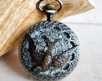 Swallow pocket watch, mens pocket watch with swallow mounted on front case of pocket watch in bronze
