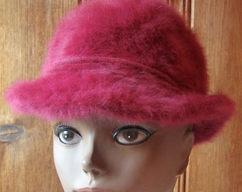 "Kangol Winter Hat - Vintage Pink Fuzzy Hat - Furry Bright Fuchsia Bucket Hat - Unlined Hat with Bow on Band - 22"" Band Women's Large"