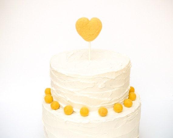 Heart Wedding Cake Topper - Needle Felted Heart Wedding Cake Topper - Yellow Unique Country Wedding Cake Topper