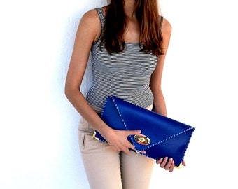 Blue leather clutch / Handmade leather bag