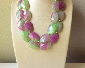 Pink & Green Chunky Statement Necklace - Big beaded jewelry - Double Strand Statement Necklace
