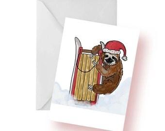 Christmas Card- Holiday Selection- Sledding Sloth Card