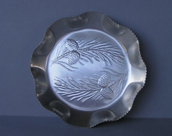 Vintage Embossed Aluminum Pinecones Serving Tray with Ruffled Edges, Pine Cone Serving Tray,
