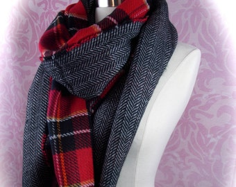 Double side plaid scarf/oblong scarf