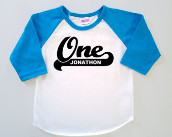 Baby's First Birthday Personalized 'One' Poly Cotton 3/4 Raglan Sleeve Baseball Shirt