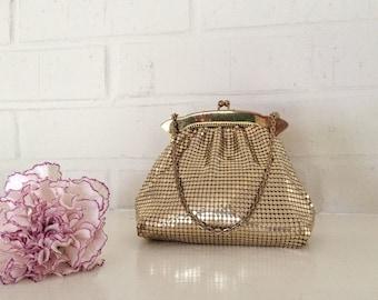 Vintage Gold Mesh Whiting and Davis Hand Bag, Gold Handbag Metal Mesh by Whiting and Davis, Evening Bag, Structured Frame Purse, Wristlet