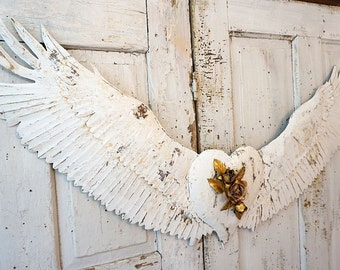 Metal winged heart wall hanging unique French Nordic white distressed large wings embellished heart one of a kind decor anita spero design