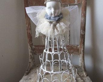 Santos cage doll handmade French Nordic white folk art angel figure ornate display distressed painted creative home decor anita spero design