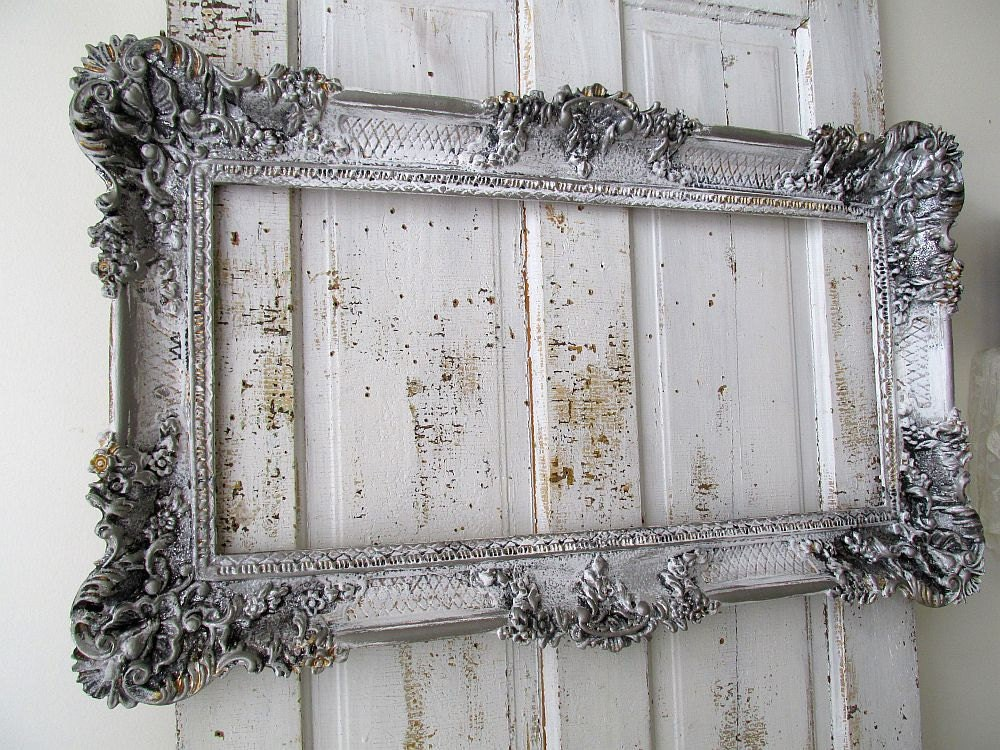 Gray Pewter Picture Frame Large French Farmhouse Wall Hanging