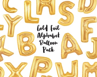 Gold Foil Balloon Letters Clip Art - Gold Letters - Balloon Party Celebration Birthday Graphics - Commercial & Personal - Instant Download