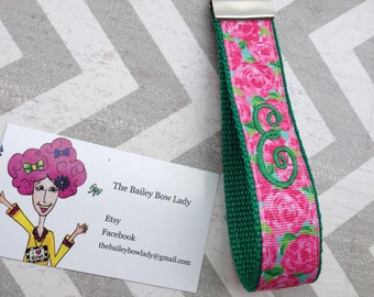 Lilly Pulitzer Inspired Rose Impression Monogrammed Key Fob