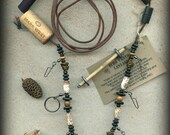 Fly Fishing Lanyard + Tippet Holder with Salwag Tree, Bone, Wood and Colored Copper Wire Beads on Dark Brown 2mm Paracord