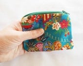 Coin Purse Japanese Cotton - Kimono Fabric - Zipper Coin Purse Pouch - Change Purse Makeup Bag