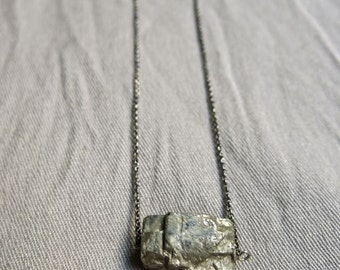 70s Large Chunk of Pyrite Pendant Necklace