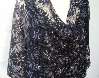 """Mesh Designer French Lace """"Silver Petals"""" Cowl Scarf Poncho"""