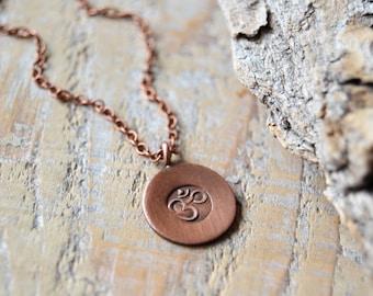 OM necklace - yoga jewelry - copper om ohm aum necklace - mens yoga necklace - unisex yoga jewelry