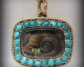 Reduced! -- 1823 GEORGIAN/REGENCY 18k Yellow Gold and Turquoise Mourning Pendant/Brooch -- Engraved Initials and Date, almost 200 years old