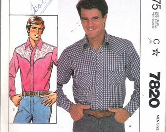 "Vintage 1981 McCall's 7820 Men's Shirt Sewing Pattern Size 40 Neck 15 1/2"" Chest 40"""