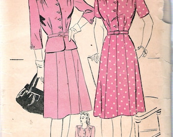 """Vintage 1940's Advance 3728 One or Two-Piece Dress Sewing Pattern Size 16 Bust 34"""""""