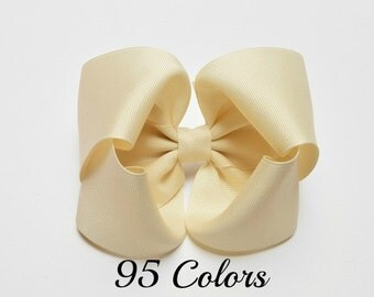 Ivory Hair Bow, Girls Hair Bows, Large Hair Bows, 5 inch Hair Bows, Bows for Hair, 500