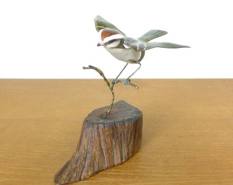 Norman Brumm bird sculpture, chirping sparrow enamel on copper signed