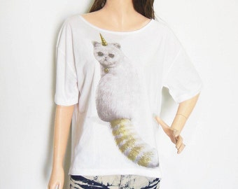 SALE Cat Unicorn T Shirt Cat  Unicorn Shirt Cat Shirt Style Front Short Than Women T-Shirts Women Crop Top Tee Shirt Screen Print Size L