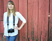 Leather Camera Strap - Leather Vintage Style Camera Strap - works with DSLR, SLR and Manual Cameras