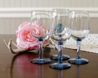 Blue Stem Wine / Water Goblets (Set of 4) - Elegant Cottage Chic Dinner Glassware - Vintage Dining