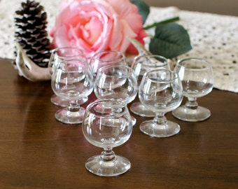 Mini Brandy Snifter Shot Glass Stemware (Set of 8) - Clear Glasses, Wedding Table Centerpieces - Vintage Barware