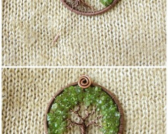 Tree-of-Life brooch pin Copper Peridot olivine Family tree brooch Green tree pin Wedding anniversary copper August birthstone For her   MW23