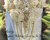 Gatsby Brooch Bouquet, Gold Brooch Bouquet with Draping Pearls,BALANCE for Completed Order for Nicole